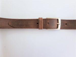 Hunter bruine lederen riem, gestikt met rechte nikkelvrije gesp