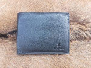 Lederen heren portemonnee met ruime rits binnenin, zwart