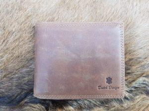 Lederen billfold portemonnee, middel bruin hunter