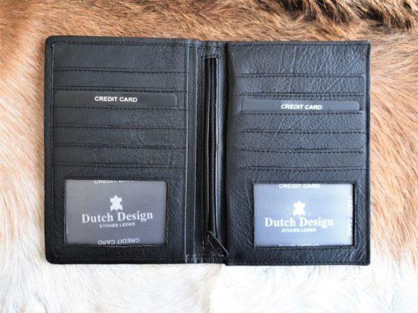 Dubbele lederen portefeuille voor creditcards en autopapieren