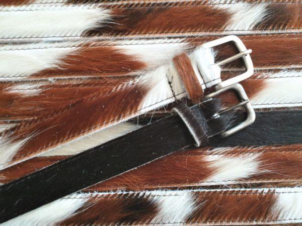 Lederen riem van bonte koeien huid, 3 cm breed