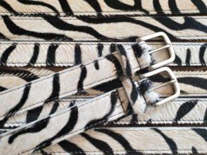 Lederen zebra riem van koe huid, 3 cm breed