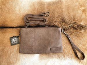 Metz, schoudertas en clutch tasje, bruin