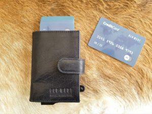 Blauwe creditcardhouder, pasjeshouder, anti skim portemonnee