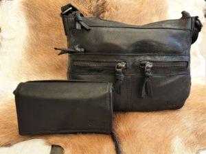 Combi METZ (9), lederen tas en portemonnee, zwart