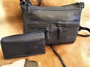 Combi METZ (10) lederen tas en portemonnee, blauw
