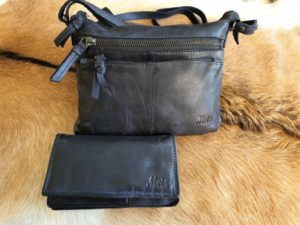 Combi METZ (6), lederen tas en portemonnee, blauw