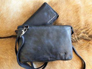 Combi METZ (1), lederen tas en bijpassende portemonnee, blauw