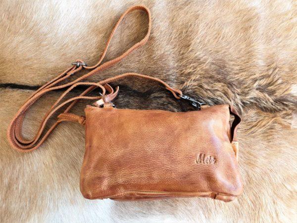 METZ cognac bruin klein lederen tasje en portemonnee tegelijk