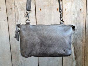 METZ klein lederen tasje en portemonnee tegelijk, grijs