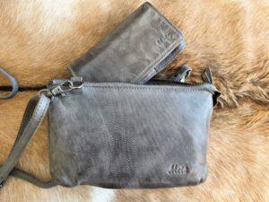 Combi METZ (4), lederen tas en portemonnee, grijs
