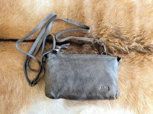 METZ grijs klein lederen tasje en portemonnee tegelijk