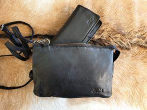Combi METZ (3), lederen tas en portemonnee, zwart