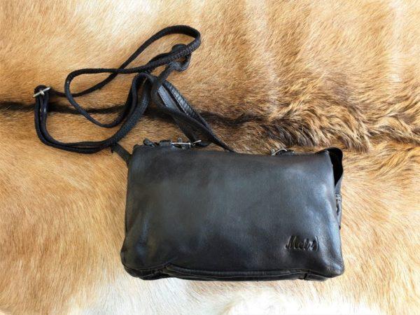 METZ zwart klein lederen tasje en portemonnee tegelijk
