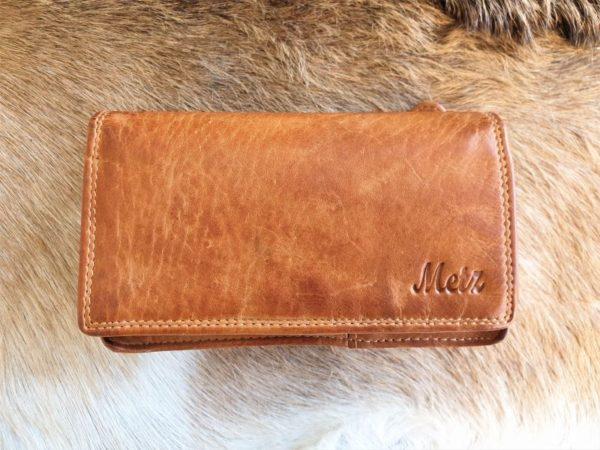 Metz portemonnee van mooi soepel leder, cognac bruin