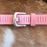 Lederen roze gleufjes/ sleufjes kinder riem met nikkelvrije gesp