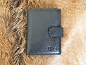 Lederen creditcard mapje, combi portemonnee, zwart