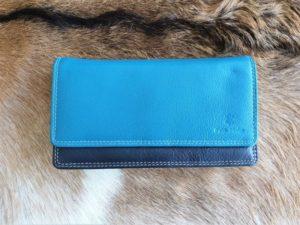 Ruime dames portemonnee multicolor, echt leder aqua blauw