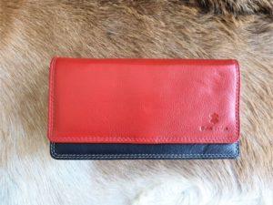 Ruime dames portemonnee multicolor, echt leder rood