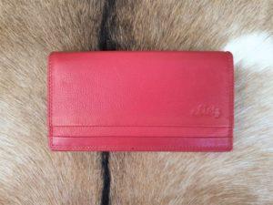 Platte lederen dames portemonnee, rood
