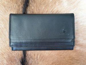 Platte lederen dames portemonnee, zwart