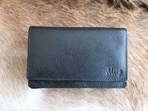 Compacte Metz portemonnee van echt leder, zwart
