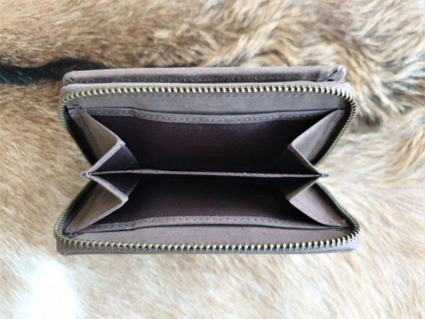 Lederen portemonnee met sterke ijzeren rits, bruin