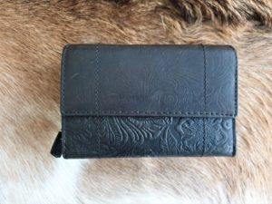 Ruime leren dames portemonnee met leuke print, donker bruin