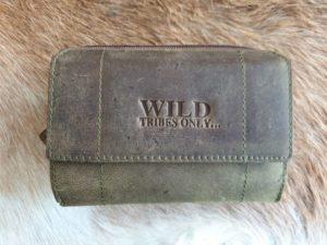 Mooie leren dames portemonnee Wild, groen bruin