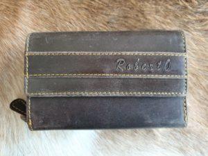 Mooie leren dames portemonnee Roberto streep, bruin