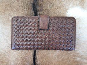 Kunstlederen dames portemonnee gevlochten, bruin