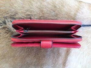 Kunstlederen dames portemonnee gevlochten, rood