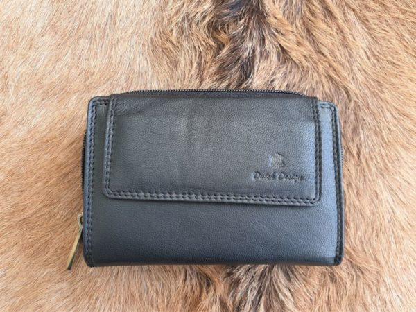 Compacte lederen portemonnee met rits sluiting, zwart