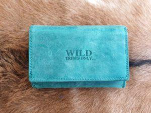 Wild tribes only, aqua blauw, lederen dames portemonnee