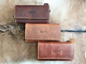 Grote lederen dames portemonnee, in 3 bruine tinten Roberto