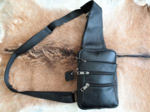 Leren crossover body bag, zijtas, kleur zwart