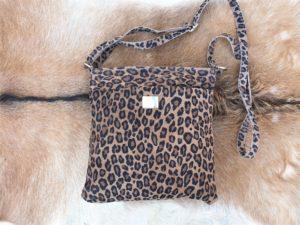 Tas met luipaard/ panter print van echt leder, suède-look, Dark