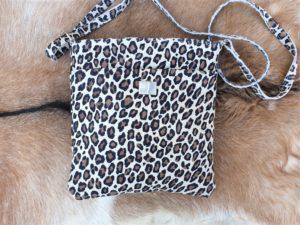 Tas met luipaard/ panter print van echt leder, suède-look, Light
