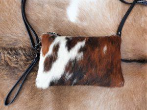 Tas van koeien huid met 2 vakken, écht leer (multi1)