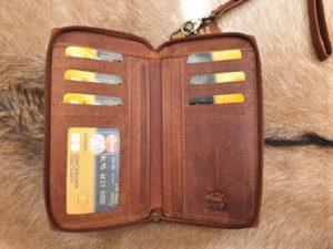 Lederen camel portemonnee/ clutch met telefoon vak