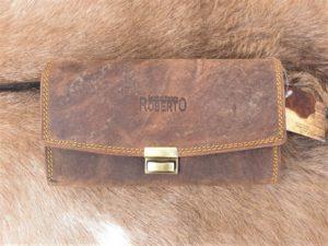 Leren horeca portemonnee met groot munt vak, buffel