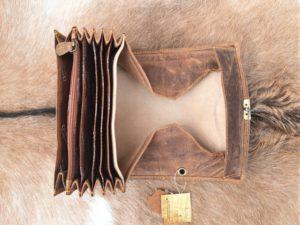 Leren horeca portemonnee met groot munt vak, buffel bruin