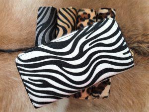NIEUW ! Grote zebraprint wit portemonnee met 2 rits vakken