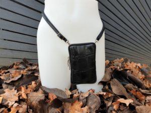 Telefoontasje, heuptasje, schoudertasje, zwart Croco leder