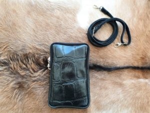 Zwart telefoontasje, heuptasje, schoudertasje, Croco leder