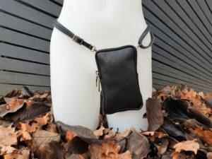 Telefoontasje, heuptasje, schoudertasje, basic zwart leder