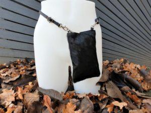 Extra rits koe zwart, telefoontasje, heuptasje & schoudertasje